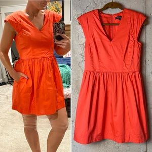 French connection orange coral fit flare dress